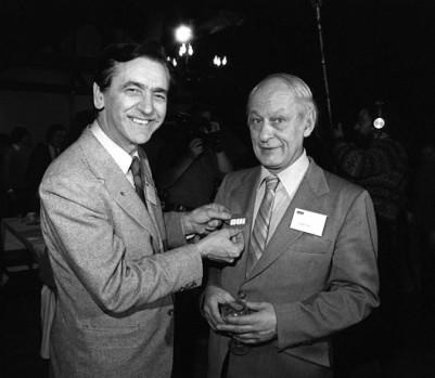 Camille Laurin et René Lévesque en 1980. - Photo : Gordon Karam