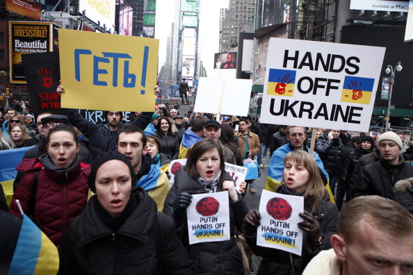 Demonstration Held In New York Against Russia's Recent Moves Against Ukraine