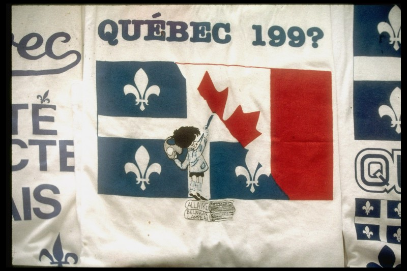 Quebec 199? banner w. cartoon artist ptg