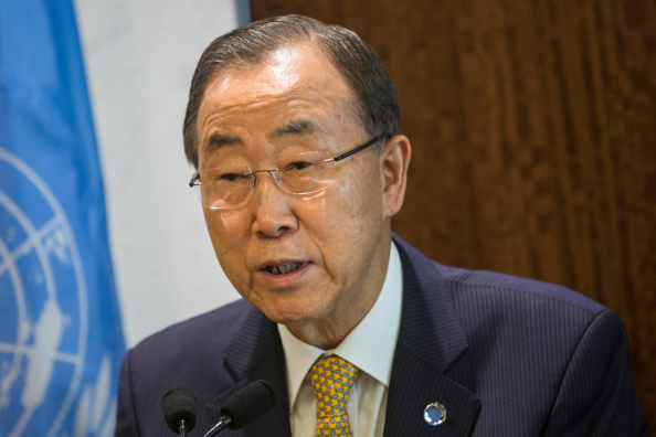 United Nations Secretary General Ban Ki-Moon Speaks On The Ebola Crisis