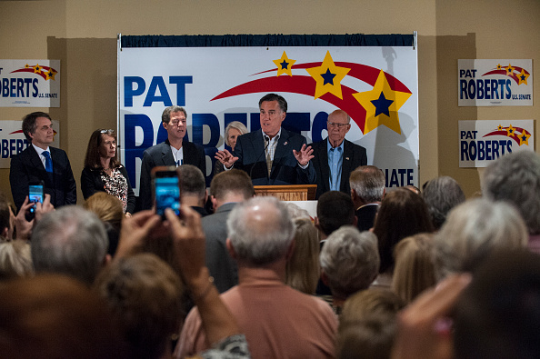 Mitt Romney Campaigns With Pat Roberts In KS Ahead Of Midterm Elections