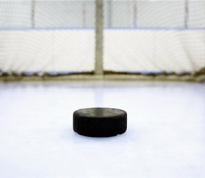 600-02056043 © Masterfile Model Release: No Property Release: Yes Property Release Hockey Puck and Net
