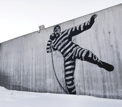 """Mandatory Credit: Photo by Trond Isaksen / Rex Features ( 1178823f )  A mural in the prison courtyard by Norwegian street artist Dolk  Halden Fengsel prison, Halden, Norway - May 2010  FULL WORDS: http://www.rexfeatures.com/nanolink/cfg7    According to The Telegraph, Norway killer Anders Behring Breivik could be held in the 'luxury' Halden Fengsel prison.    Built at a cost of $252million over ten years, Halden Fengsel is a world away from the bleak and overcrowded jails of other countries.    The rooms are spacious, modern and are equipped with flat-screen TVs and minifridges. There is a spotless gym, climbing wall and wooded jogging trails for the residents to get some exercise.    In fact, nestled in 75 acres of a picturesque forest in southeastern Norway, one could mistake this for a trendy hotel - but it is in fact the country's newest prison.    Opened in April 2010 to house 248 inmates, the nation's second largest prison has been constructed based on the principle that """"correctional services shall provide that the offender should be able to make a personal effort to change his pattern of criminal action""""."""