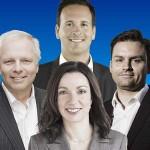 Jean-François Lisée, Martine Ouellet, Alexandre Cloutier et Paul St-Pierre-Plamondon. (Photos: Marie-Reine Mattera; D. R.; photo de campagne; A. Roberge/La Presse)