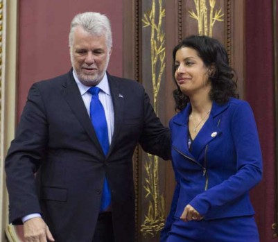 Philippe Couillard et Dominique Anglade. THE CANADIAN PRESS/Jacques Boissinot