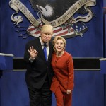 """SATURDAY NIGHT LIVE -- """"Margot Robbie"""" Episode 1705 -- Pictured: (l-r) Alec Baldwin as Republican Presidential Candidate Donald Trump and Kate McKinnon as Democratic Presidential Candidate Hillary Clinton during the """"Debate Cold Open"""" sketch on October 1, 2016 -- (Photo by: Will Heath/NBC/NBCU Photo Bank via Getty Images)"""