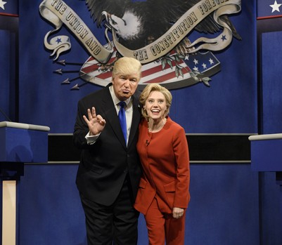 "SATURDAY NIGHT LIVE -- ""Margot Robbie"" Episode 1705 -- Pictured: (l-r) Alec Baldwin as Republican Presidential Candidate Donald Trump and Kate McKinnon as Democratic Presidential Candidate Hillary Clinton during the ""Debate Cold Open"" sketch on October 1, 2016 -- (Photo by: Will Heath/NBC/NBCU Photo Bank via Getty Images)"