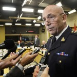 RCMP Commissioner Bob Paulson scrums with media before appearing before a standing committee on National Security and Defence in Ottawa on Monday, May 2, 2016. THE CANADIAN PRESS IMAGES/Matthew Usherwood