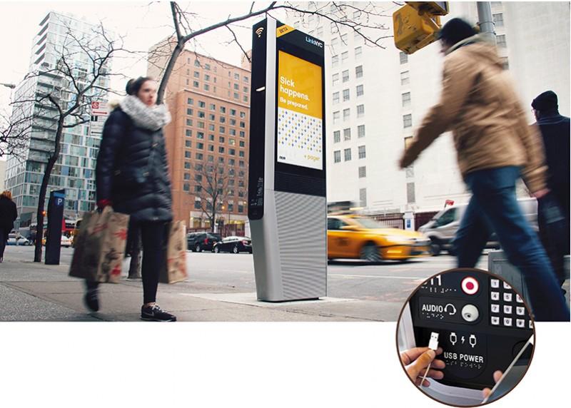 Financé par la publicité diffusée sur les écrans des bornes, le réseau de LinkNYC a l'ambition de devenir un nouvel emblème de New York. (Photo: Citybridge)
