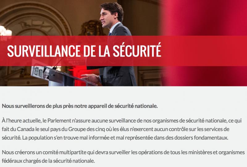 Extrait de la plateforme électorale de Justin Trudeau, lors de l'élection générale de 2015. (Source: Site web du Parti libéral du Canada)