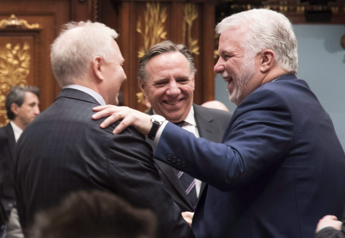 Philippe Couillard, Jean-Francois Lisee, Francois Legault